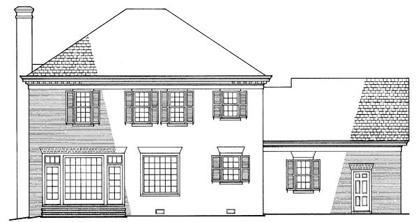 Southern , Plantation , Colonial , Rear Elevation of Plan 86120