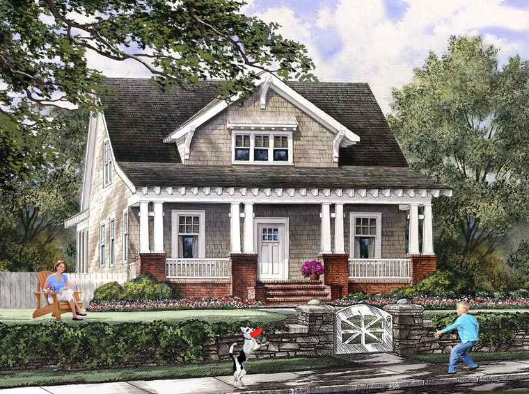 House Plan 86121 | Bungalow Cottage Craftsman Farmhouse Style Plan with 1928 Sq Ft, 4 Bedrooms, 3 Bathrooms, 2 Car Garage Elevation