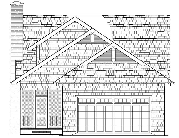 House Plan 86121 | Bungalow Cottage Craftsman Farmhouse Style Plan with 1928 Sq Ft, 4 Bedrooms, 3 Bathrooms, 2 Car Garage Rear Elevation