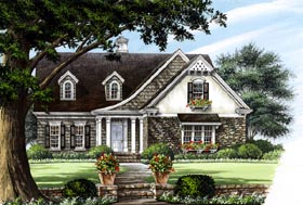 European , Craftsman , Country , Cottage House Plan 86123 with 4 Beds, 3 Baths, 2 Car Garage Elevation