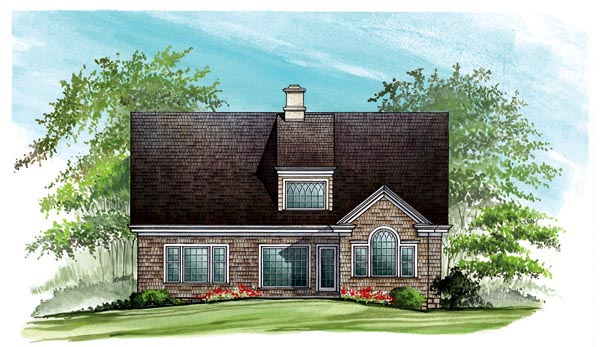 European , Craftsman , Country , Cottage House Plan 86123 with 4 Beds, 3 Baths, 2 Car Garage Rear Elevation