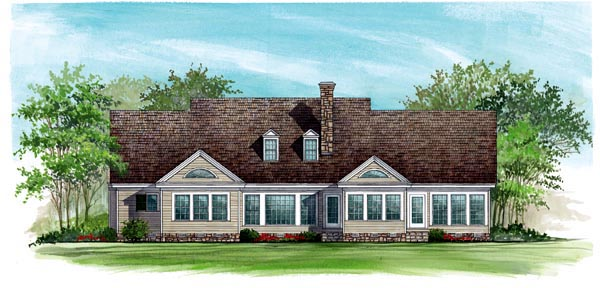 Colonial , Country , Farmhouse , Southern House Plan 86124 with 3 Beds, 3 Baths, 2 Car Garage Rear Elevation