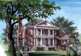 Colonial , Plantation , Southern House Plan 86125 with 5 Beds, 6 Baths, 3 Car Garage Elevation