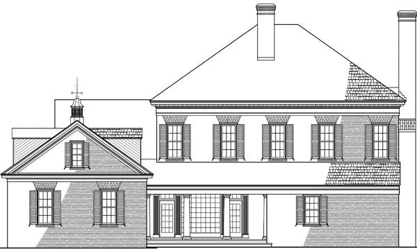 Colonial Plantation Southern House Plan 86125 Rear Elevation