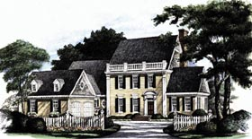 House Plan 86128 | Colonial Southern Style Plan with 3233 Sq Ft, 4 Bedrooms, 4 Bathrooms, 2 Car Garage Elevation