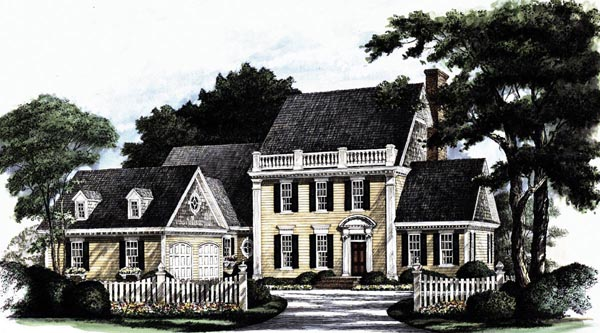 Colonial Southern Elevation of Plan 86128