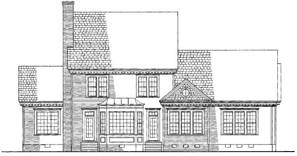 Colonial Southern Rear Elevation of Plan 86128