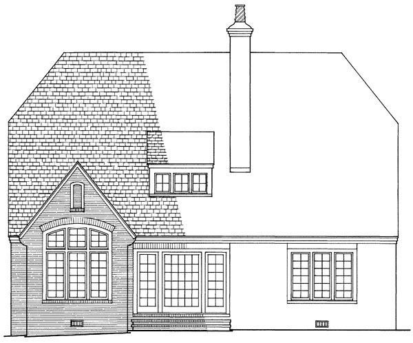 European Tudor House Plan 86132 Rear Elevation