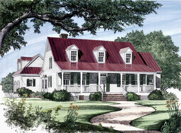 Colonial Cottage Country Farmhouse Southern Traditional House Plan 86133 Elevation