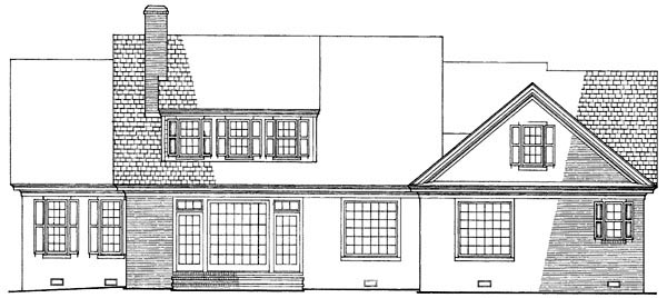 Traditional , Rear Elevation of Plan 86137
