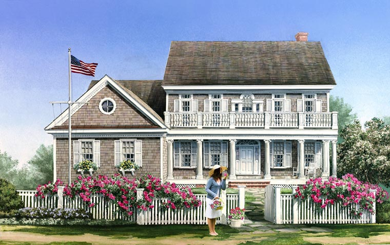 Cape Cod Colonial Traditional House Plan 86138 Elevation