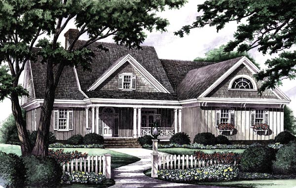 Cottage , Country , Farmhouse , Ranch , Elevation of Plan 86140