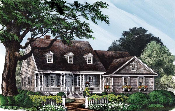 Colonial Cottage Country Southern House Plan Colonial Cottage Country Southern House Plan Elevation