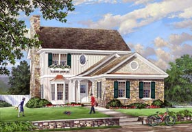 House Plan 86142 | Cottage Country Traditional Style Plan with 2266 Sq Ft, 4 Bedrooms, 4 Bathrooms, 2 Car Garage Elevation