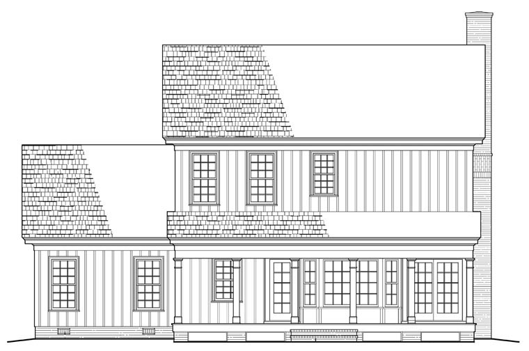 Cottage , Country , Traditional , Rear Elevation of Plan 86142