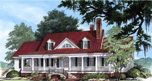 Colonial Country Farmhouse Plantation Southern House Plan 86143 Elevation