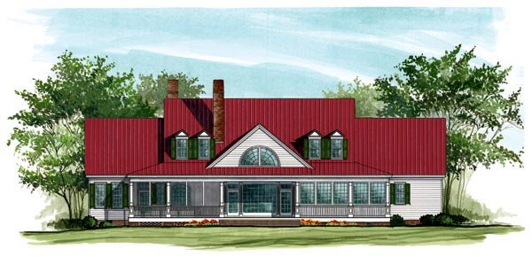Colonial Country Farmhouse Plantation Southern House Plan 86143 Rear Elevation