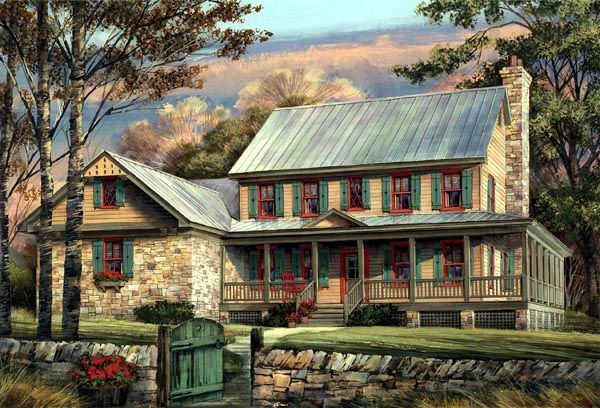 Country, Farmhouse, Southern House Plan 86144 with 5 Beds, 4 Baths, 2 Car Garage Front Elevation