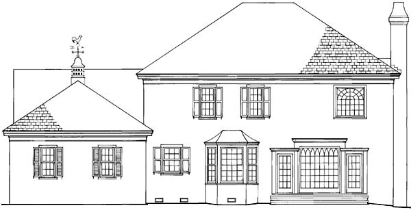 Country European Traditional Rear Elevation of Plan 86146