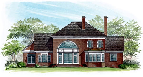 Traditional House Plan 86147 with 4 Beds, 4 Baths, 2 Car Garage Rear Elevation