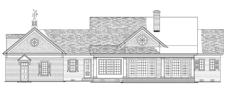Colonial Country Plantation Southern House Plan 86148 Rear Elevation