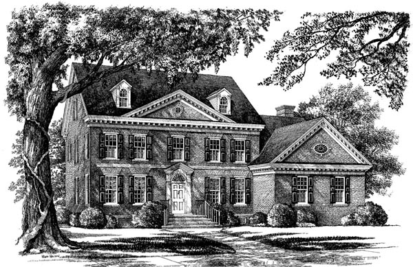 Colonial Southern Elevation of Plan 86149