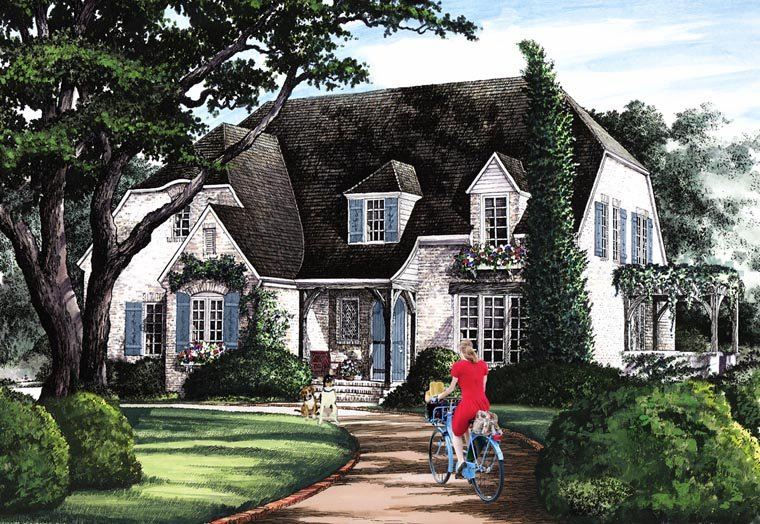 Cottage House Plan 86154 with 5 Beds, 4 Baths, 2 Car Garage Elevation