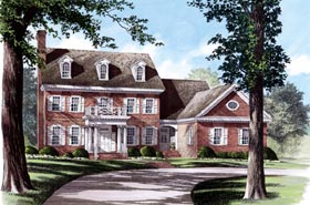 House Plan 86158 | Colonial Southern Style Plan with 3371 Sq Ft, 4 Bedrooms, 5 Bathrooms, 2 Car Garage Elevation