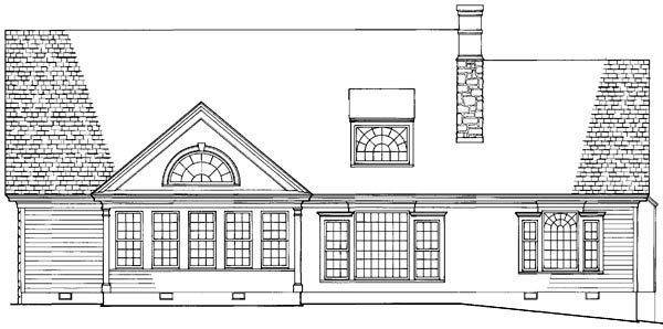 Cottage Country Farmhouse Traditional Rear Elevation of Plan 86160