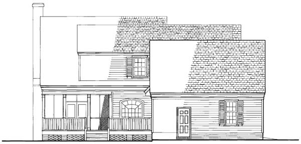 Colonial Cottage Country Farmhouse Southern Traditional House Plan 86161 Rear Elevation