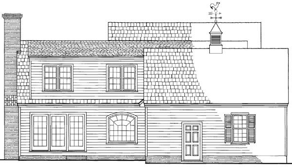 Cottage Country Farmhouse Traditional Rear Elevation of Plan 86163