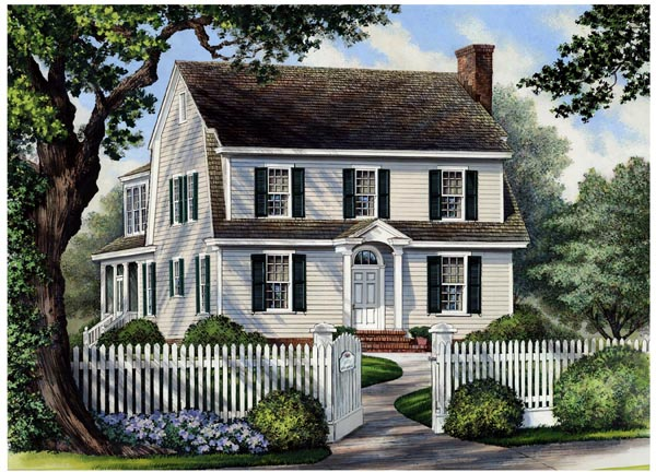 Colonial Cottage Country Farmhouse House Plan 86166 Elevation