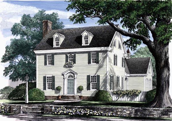 Colonial Southern Elevation of Plan 86168