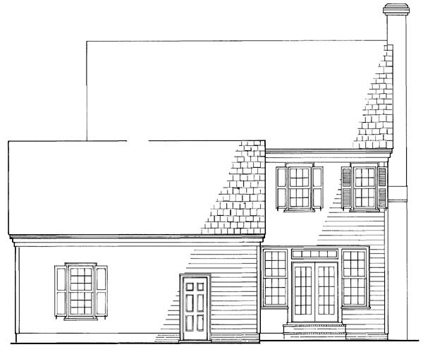 Colonial Southern Rear Elevation of Plan 86168