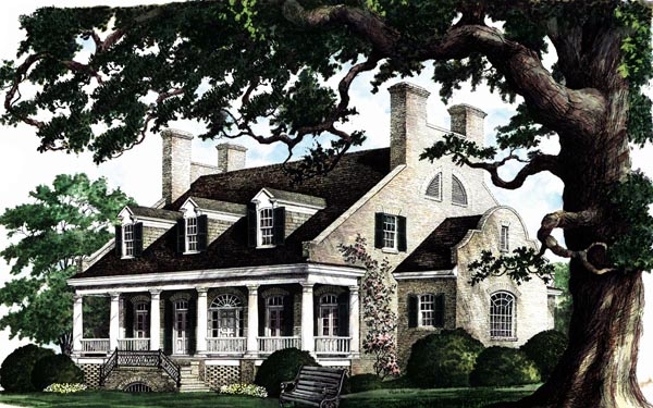 Colonial Plantation Southern House Plan 86174 Elevation