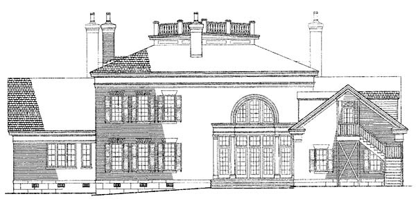 Colonial Plantation Southern House Plan 86175 Rear Elevation