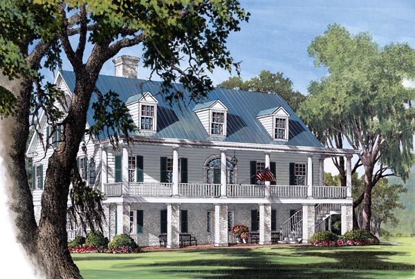 Colonial, Plantation, Southern House Plan 86178 with 5 Beds, 6 Baths, 2 Car Garage Elevation