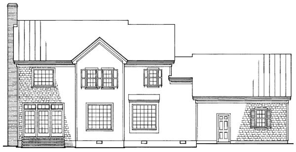 Traditional Rear Elevation of Plan 86181