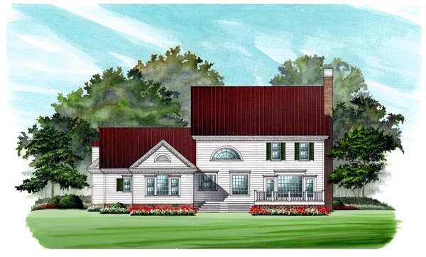Southern , Colonial House Plan 86182 with 4 Beds, 4 Baths, 2 Car Garage Rear Elevation