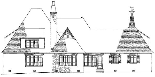 Tudor , European House Plan 86185 with 4 Beds, 6 Baths, 2 Car Garage Rear Elevation