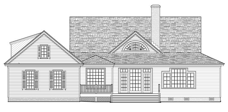 Country Farmhouse Traditional Rear Elevation of Plan 86189