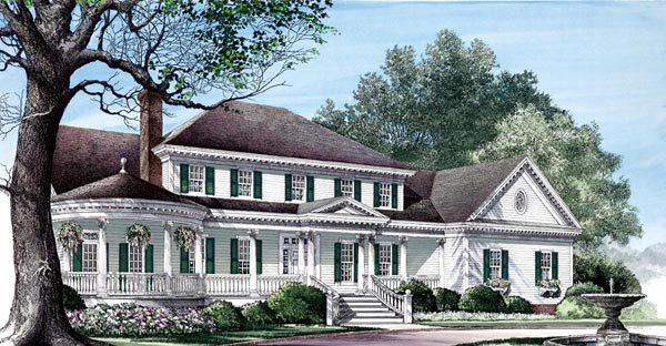 Farmhouse plans with a gazebo porch joy studio design for Southern farmhouse