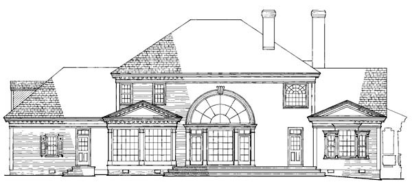 Rear Elevation of Colonial   Farmhouse  Plantation   Southern   Victorian   House Plan 86192