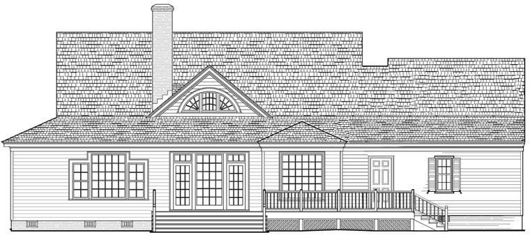 Cottage , Country , Traditional House Plan 86193 with 4 Beds, 3 Baths, 2 Car Garage Rear Elevation