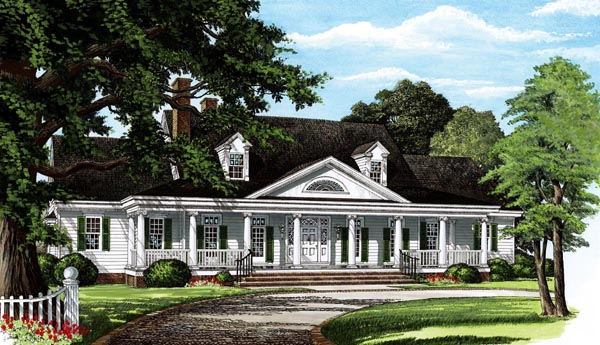 Traditional House Plan 86195 with 4 Beds, 4 Baths, 2 Car Garage Elevation