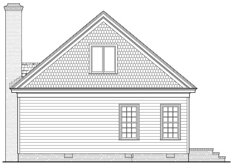 Bungalow Cottage Rear Elevation of Plan 86198