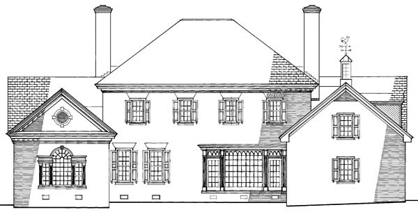 Colonial, Plantation, Traditional House Plan 86203 with 4 Beds, 6 Baths, 2 Car Garage Rear Elevation