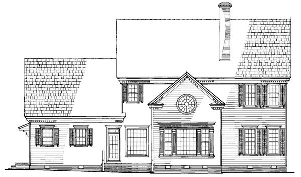 House Plan 86210 | Traditional Style House Plan with 3272 Sq Ft, 4 Bed, 4 Bath, 2 Car Garage Rear Elevation