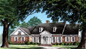 House Plan 86212 | Colonial, Traditional Style House Plan with 2639 Sq Ft, 3 Bed, 3 Bath, 2 Car Garage Elevation
