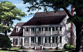 Colonial , Farmhouse , Southern House Plan 86217 with 4 Beds, 4 Baths, 2 Car Garage Elevation